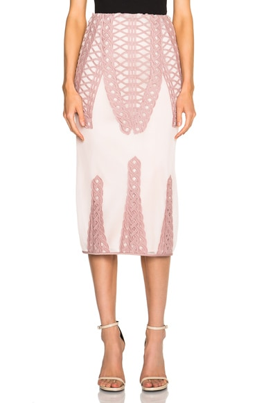 JONATHAN SIMKHAI Tread Lace Inset Angel Skirt in Pink
