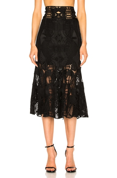 JONATHAN SIMKHAI Corded Linear Godet Skirt in Black