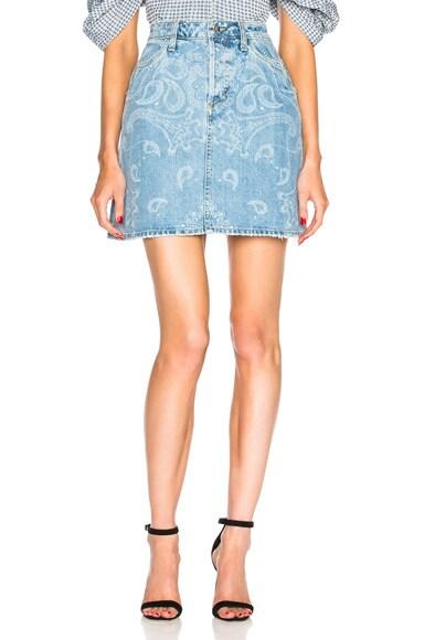 Printed Denim Mini Skirt