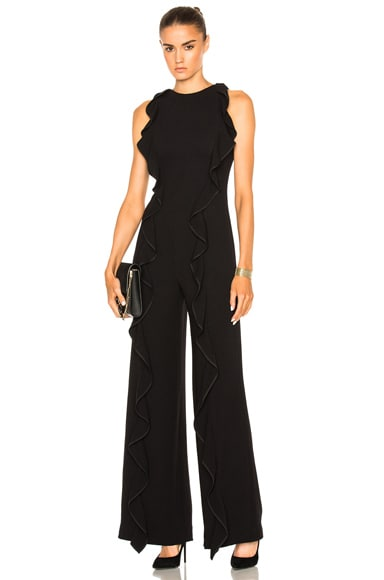 JONATHAN SIMKHAI for FWRD Ruffle Crepe Jumpsuit in Black