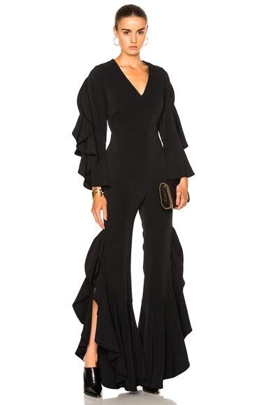 JONATHAN SIMKHAI Ruffle Sleeve Combo Jumpsuit in Black