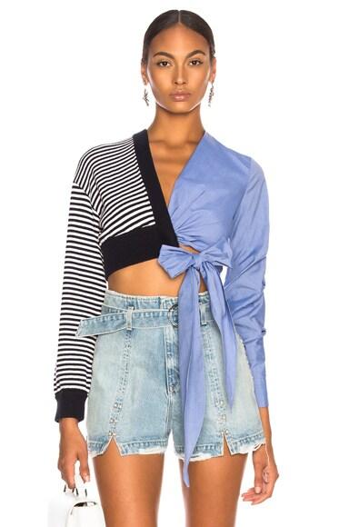 Knit Oxford Wrap Top