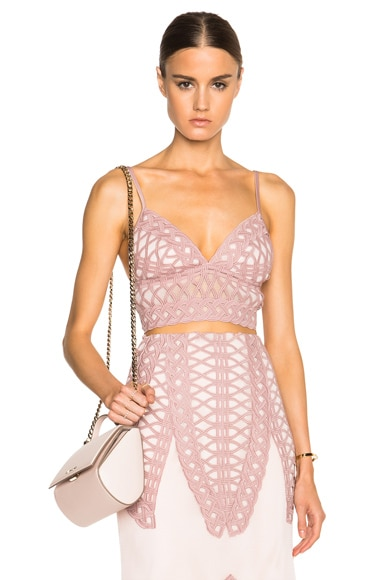 JONATHAN SIMKHAI Tread Lace Bralette Top in Pink