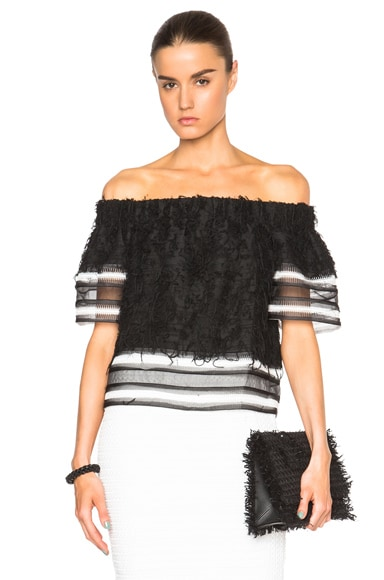 JONATHAN SIMKHAI Fringe Track Top in Black