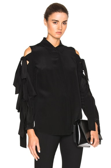 JONATHAN SIMKHAI Tie Sleeve Top in Black