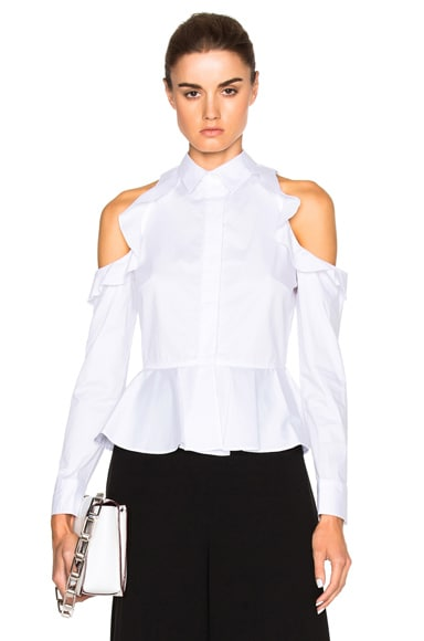 JONATHAN SIMKHAI Cut Out Shoulder Ruffle Top in White