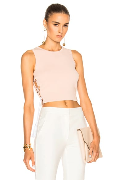 JONATHAN SIMKHAI for FWRD Knit Lace-up Top in Nude