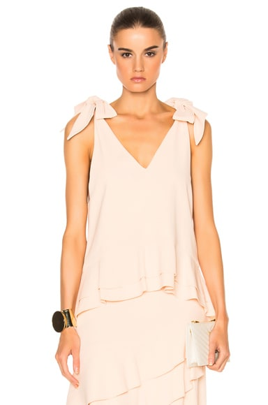 Silk Crepe Tie V Neck Peplum Top