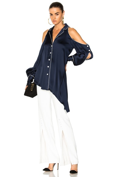 Solid Sateen Cold Shoulder Blouse