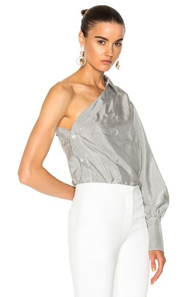 Silk Stripe One Sleeve Blouse