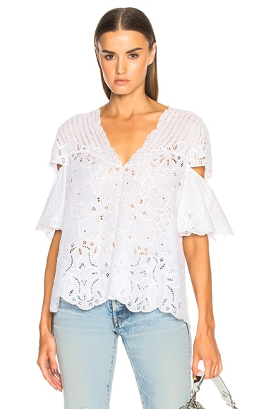 Scallop V Neck Top