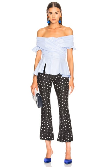 Wrapped Oxford Off Shoulder Peplum Top