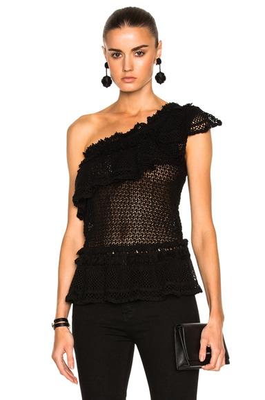 JONATHAN SIMKHAI Ruffle Crochet Asymmetric Peplum Top in Black