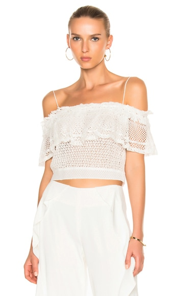 Ruffle Crochet Off Shoulder Crop Top