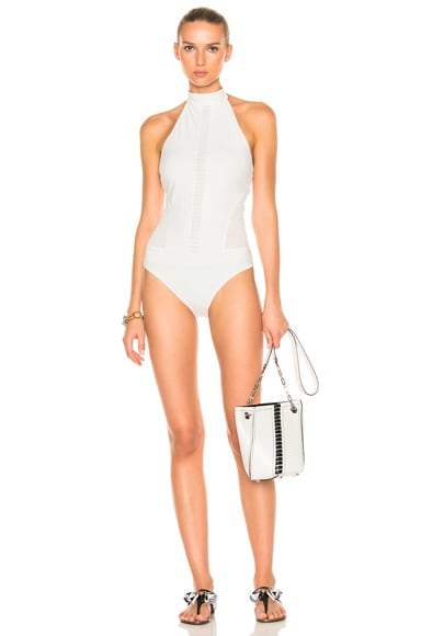 JONATHAN SIMKHAI Halter Lace Swimsuit in Ivory