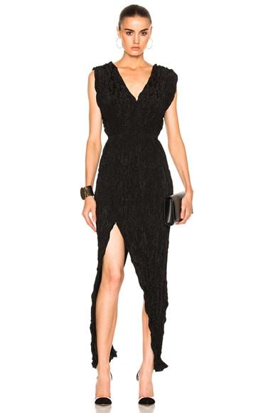 Juan Carlos Obando V-Neck Cocktail Dress in Onyx