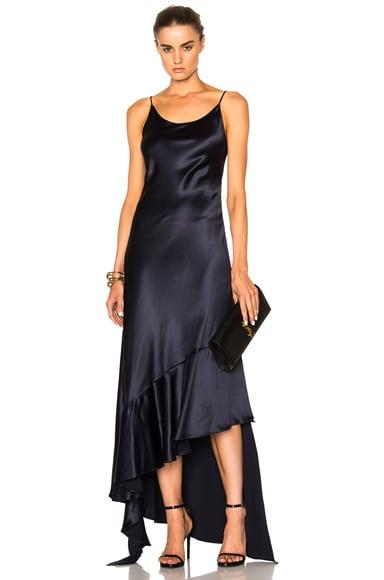 Esmeralda Silk Crepe Back Satin Asymmetrical Dress