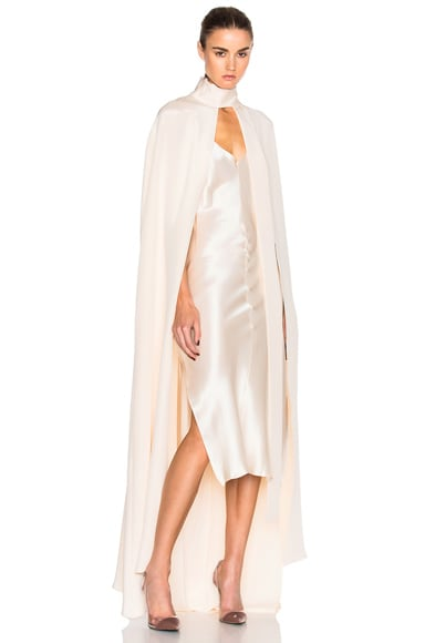 Juan Carlos Obando Avalon Crepe Floor Length Cape in Cream