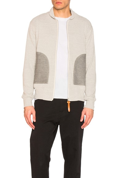 Junya Watanabe Cotton Circular Rib Sweatshirt in Light Gray