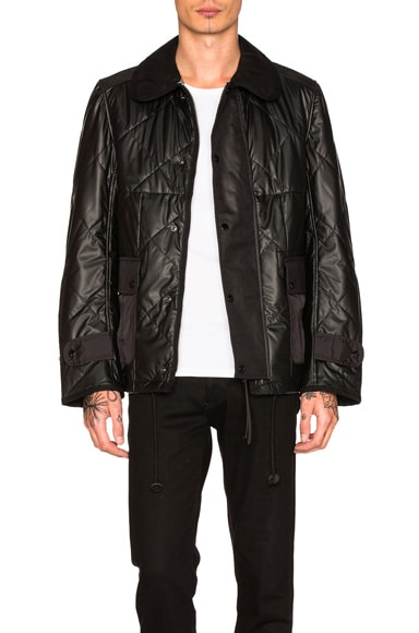 Junya Watanabe Synthetic Leather Quilting Jacket in Black