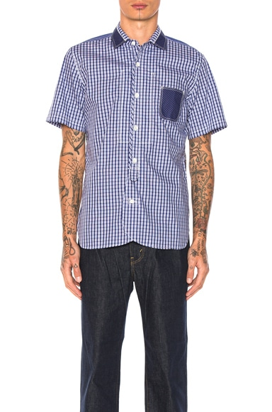 Junya Watanabe Cotton Tartan Check & Cotton Stripe Shirt in Navy & White