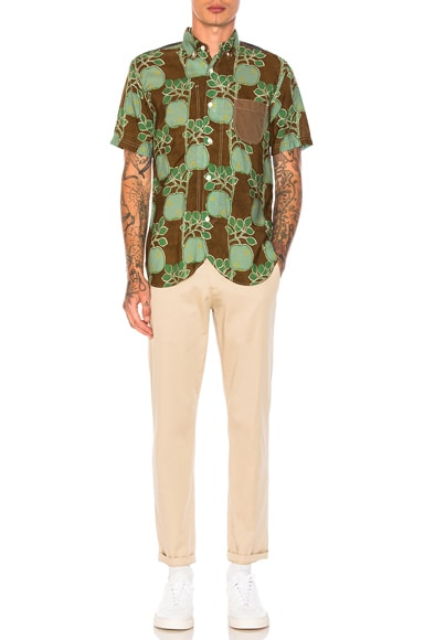 Cupra Modal Voile Print & Cotton Stripe Shirtcolor