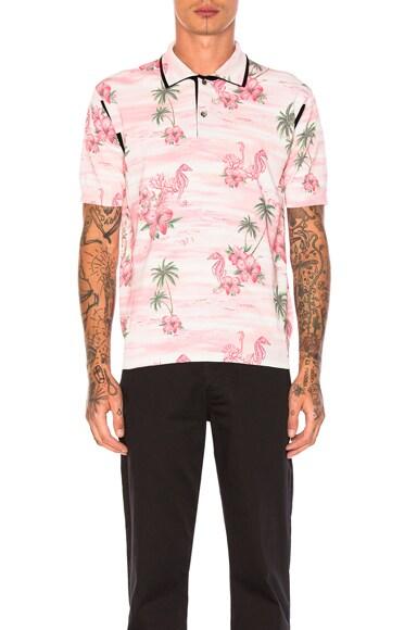 Thin Cotton & Wool Jersey Aloha Pattern Print Polo