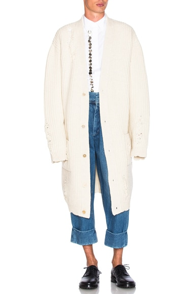 J.W. Anderson Laddered Detail Cardigan in Off White