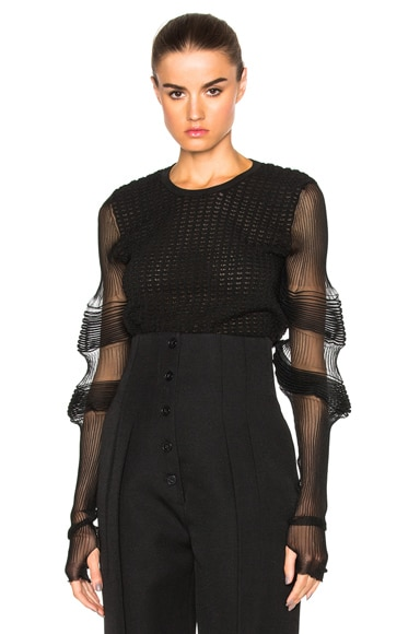 J.W. Anderson Sheer Sleeve Sweater in Black