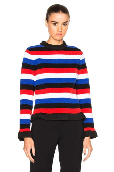 J.W. Anderson Boucle Sweater in Blue & Red