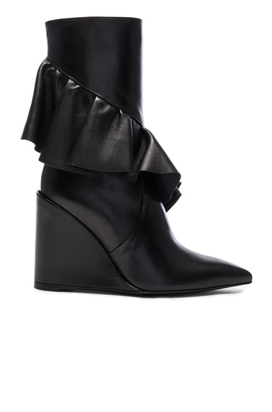 J.W. Anderson Mid Calf Leather Ruffle Boots in Black