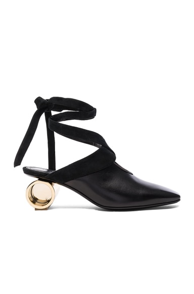 J.W. Anderson Cylinder Heel Leather Ballet Shoes in Black