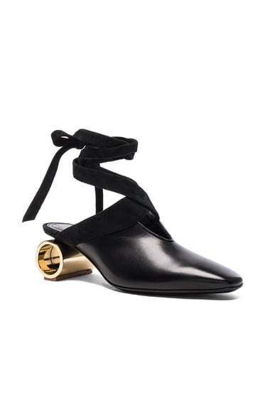Cylinder Heel Leather Ballet Shoes