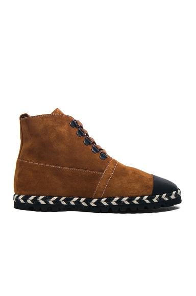 Suede Hi-Top Espadrille Boots