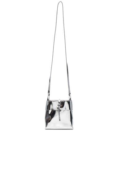 Kara Mirrored Nano Tie Crossbody in Silver