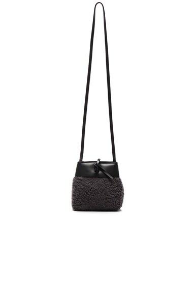 Kara Shearling Nano Tie Crossbody Bag in Grey