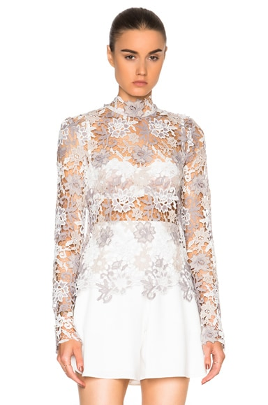 Kate Sylvester Paulette Top in Ivory Lace