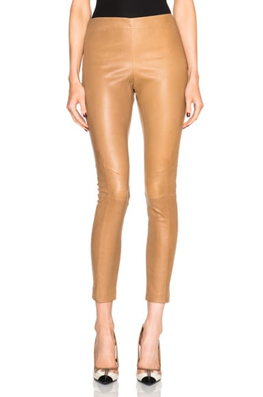 KAUFMANFRANCO Stretch Leather Pants in Camel