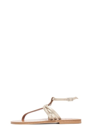 Tri Strap Metallic Leather T-Strap Sandals