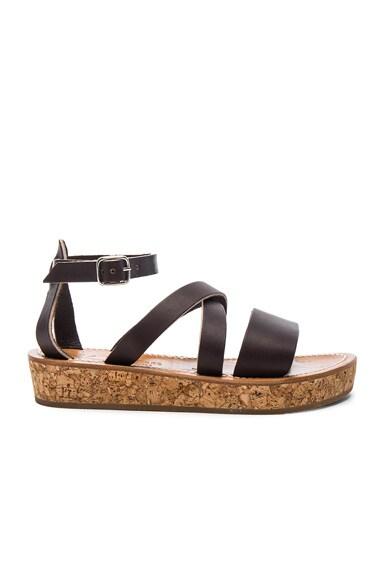 K Jacques Leather Thoronet Platform Sandals in Cafe