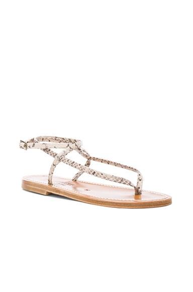 Snakeskin Embossed Leather Delta Sandals