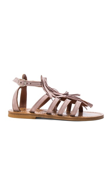 K Jacques Suede Fregate Sandals in Suede Winter Rose