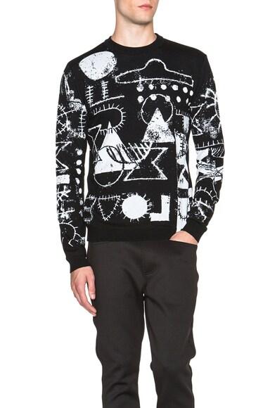 KENZO Scribble UFO Tubular Wool Jacquard Sweater in Black