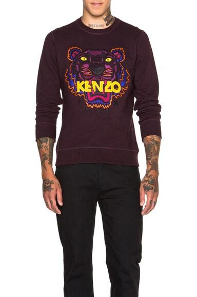 KENZO Icons Tiger Sweatshirt in Prune