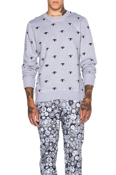 KENZO Icons all Over Eye Print Sweatshirt in Light Grey