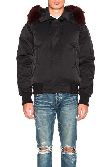 Kenzo Technical Nylon Parka with Fur Hood in Black