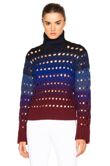 Kenzo Tie Dye Hemstitch Sweater in Duck Blue