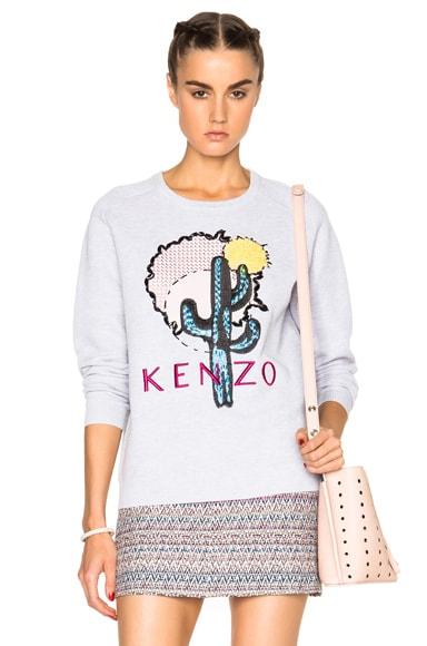 KENZO Embellished Cotton Pique Sweatshirt in Pale Grey