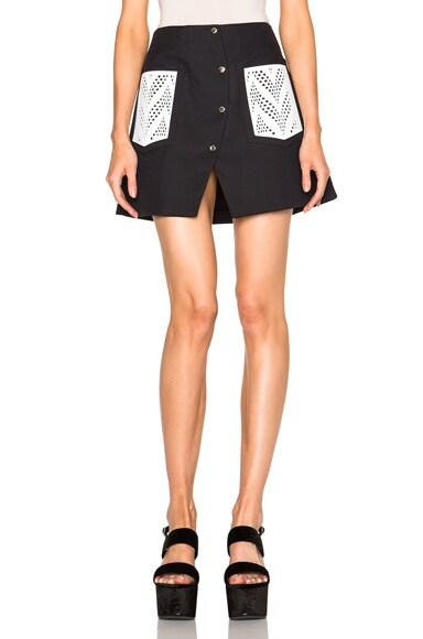 KENZO Cotton Blend Twill Skirt in Black
