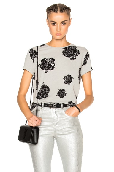 Kenzo The Allover Tiger Tee in Pale Grey